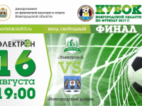 Финал Кубка Новгородской области по футболу 2017 г. 16 августа в 19:00
